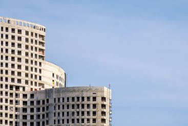 View of a modern complex of unfinished monolithic...