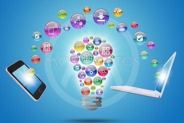 Lamp consisting of apps icons, phone and laptop