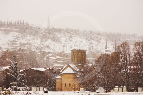 Winter view to covered with snow Tbilisi Old town in...