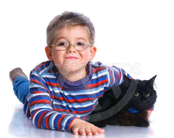 Boy with his cat