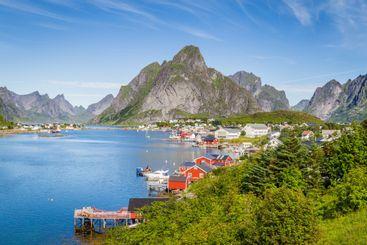 Picturesque town o f Reine on Lofoten islands in Norway