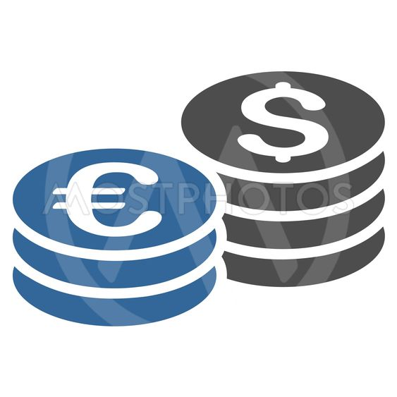 Dollar and Euro Coin Stacks Flat Vector Icon