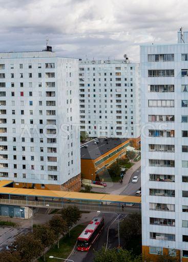 Bostadshusen i Haglund, även kallad Blåkulla, Solna,...