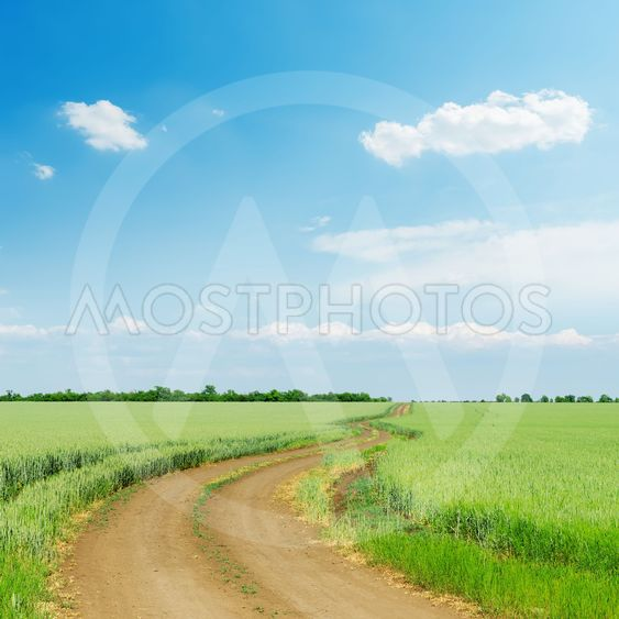 dirty road in green agriculture field and blue sky with...