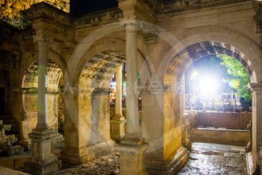 Adrian gates of old town at night Kaleichi Antalya Turkey