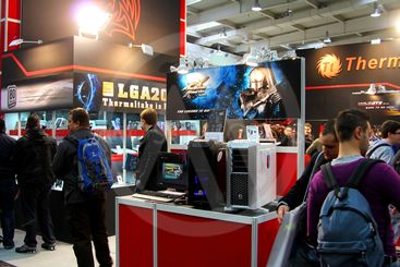 HANNOVER - MARCH 10: stand of Thermaltake on March 10,...