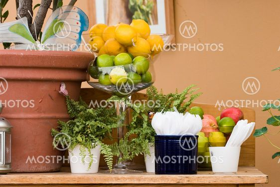 Table with fruits and forks