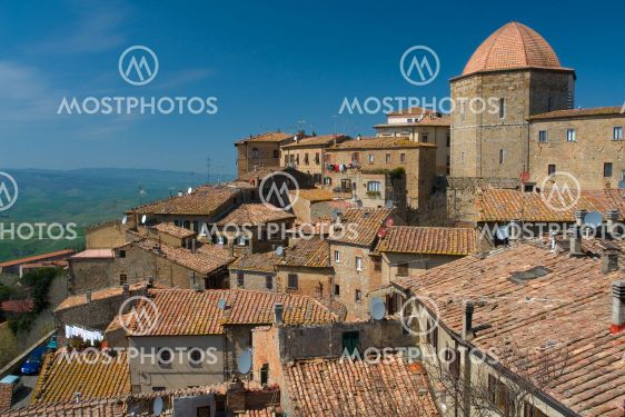 Roofs landscape in Volterra, Tuscany