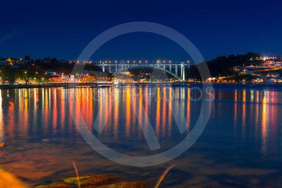 Douro river, at night in the light of lights, Porto,...