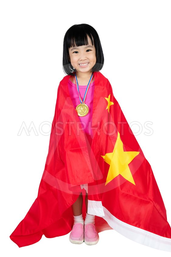 Asian Chinese little girl with China Flag