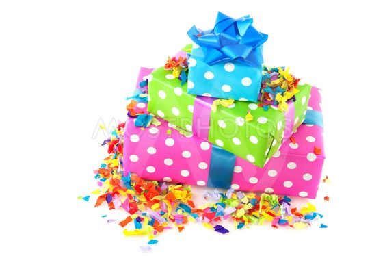 Pile colorful dotted presents