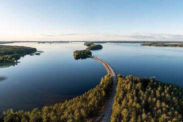 Aerial panorama of Päijänne lake in summer