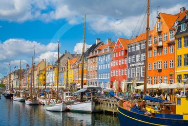 COPENHAGEN, DENMARK - MAY 22, 2017- Nyhavn - Iconic view...