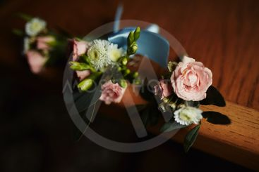 Stylish buttonhole, boutonniere for the groom. Wedding...