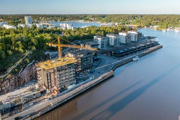 Aerial view of construction site in Turku, Finland