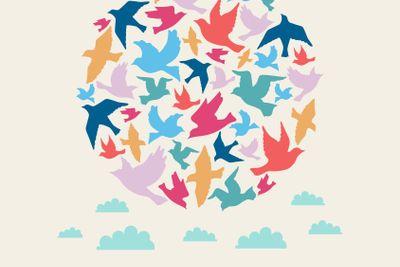 Ball of birds, celebration card on beige background