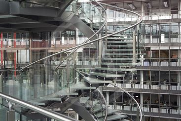 Spiral staircase in a modern building