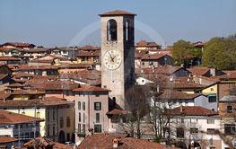 A view from above of the town of Palazzolo in Lombardy -...