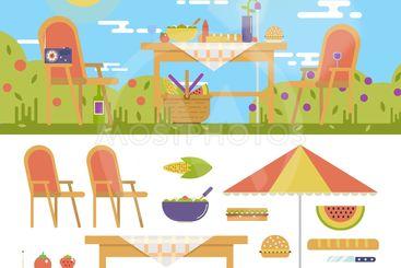 Summer picnic in the garden