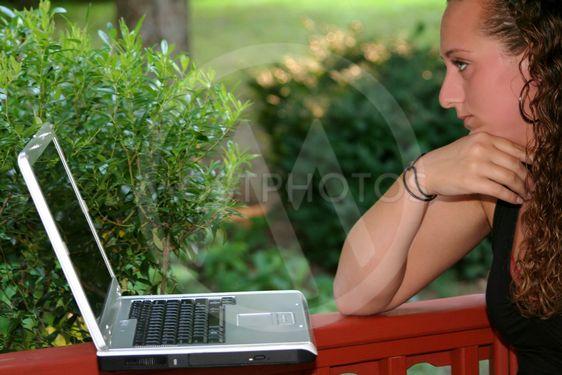 Closeup Teen Girl Studying Laptop Outdoors