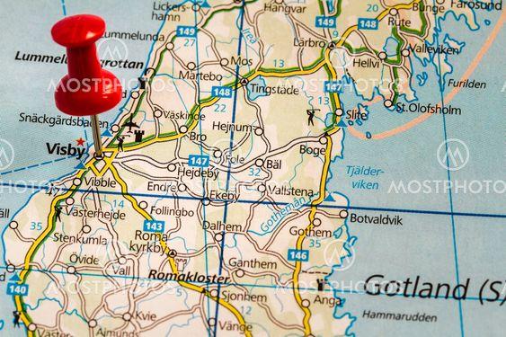 Karta Over Visby Gotland Av Bengt Hultqvist Mostphotos