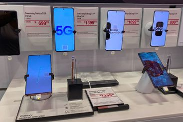 The latest Samsung 20 cellphones on display at T Mobile.