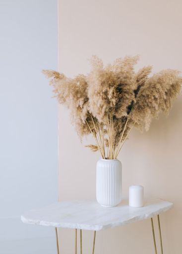 Dried flowers spikelets pampas in white vase on on a...