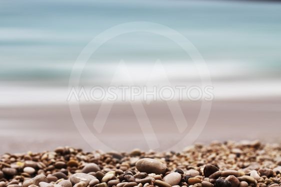 Gravel Depth Of Field and sea background
