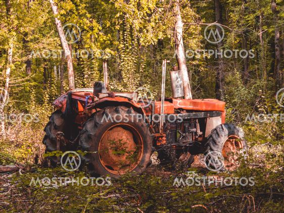 Zoom on an abandoned tractor