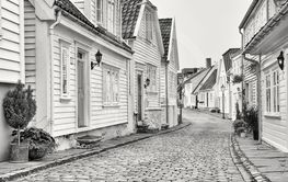 White wooden houses in the old part of Stavanger, Norway.