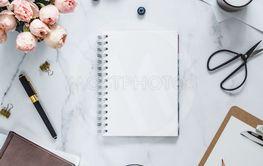 Flat lay, feminine home office mock up