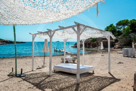 Outdoor canopy. Ibiza nudist beach.