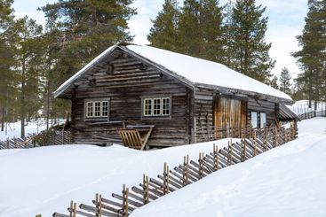 Traditional log house and fencing