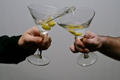 Cosmopolitan glasses toast