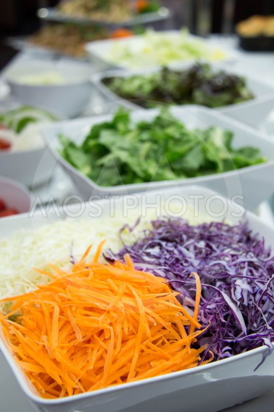 Mixed vegetable ingredients in modern salad bar