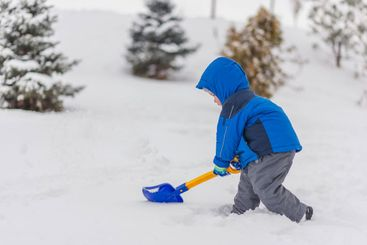 A little boy is digging snow with a shovel in the winter.