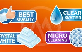 Washing clothes stickers set, stickers - micro cleaning,...