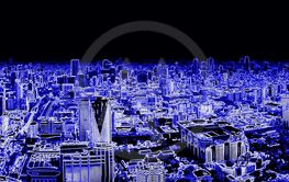 Bangkok. View from above. Neon filter for decoration