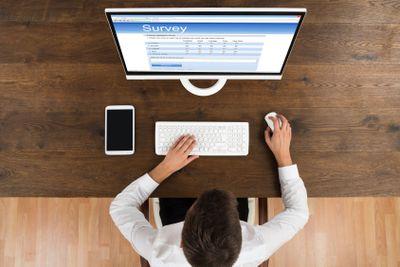 Businessman Filling Survey Form On Computer