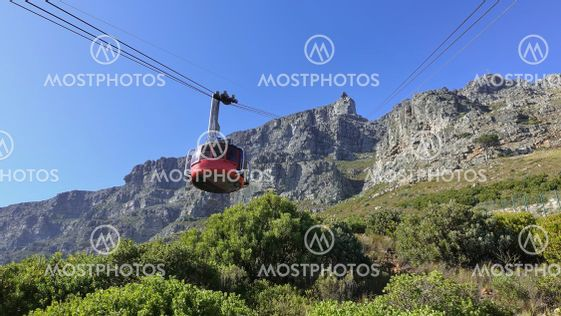 The funicular ascends Table Mountain in Cape Town