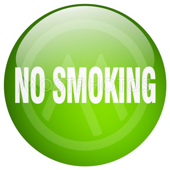 no smoking green round gel isolated push button
