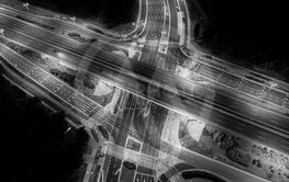 Road beautiful Aerial View of Busy Intersection , top...