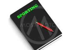 SPORTING- inscription of green letters on black book