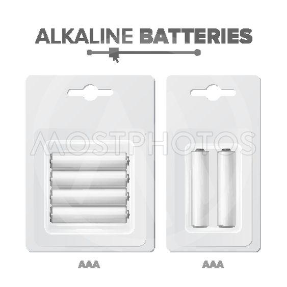 AAA Batteries Packed Vector. Alkaline Battery In Blister....