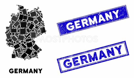 Mosaic Germany Map and Distress Rectangle Stamp Seals