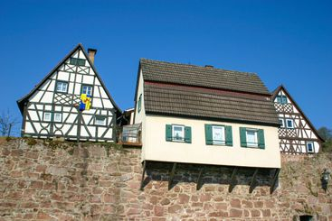old houses on a medieval city wall