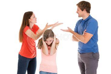 Parent Quarreling On White Background