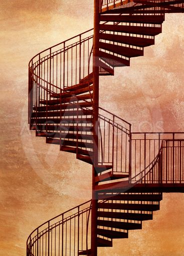 Red spiral staircase.