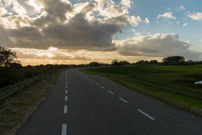 Dutch road in sunset