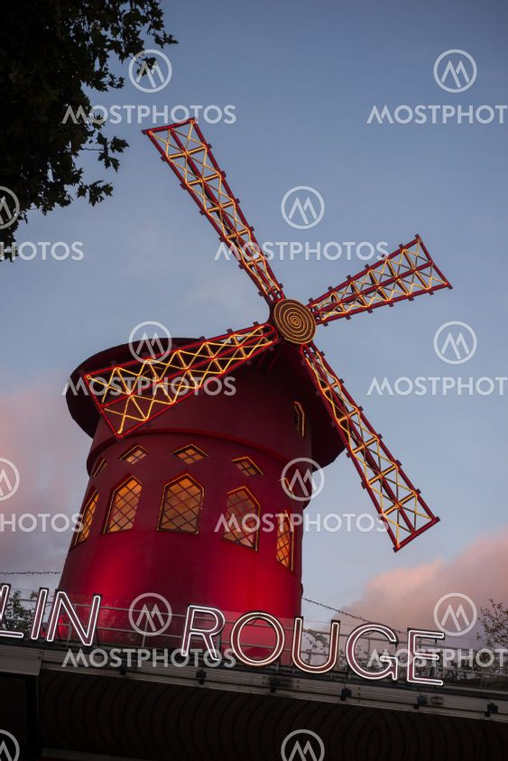 "the famous ""moulin rouge"" ( the red  mill in english)..."